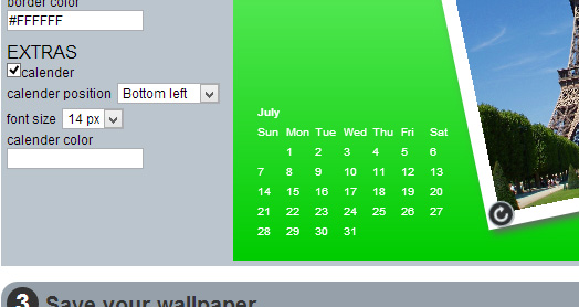 Calender controls for customization